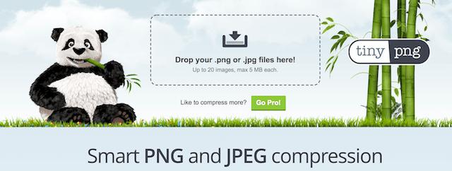 TinyPNGサイトで画像ファイルを圧縮できる