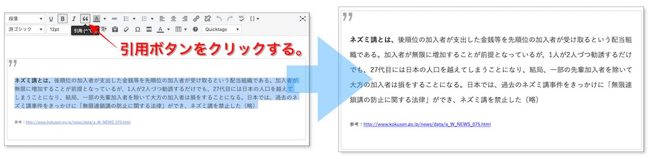 引用タグを適切に使用している例