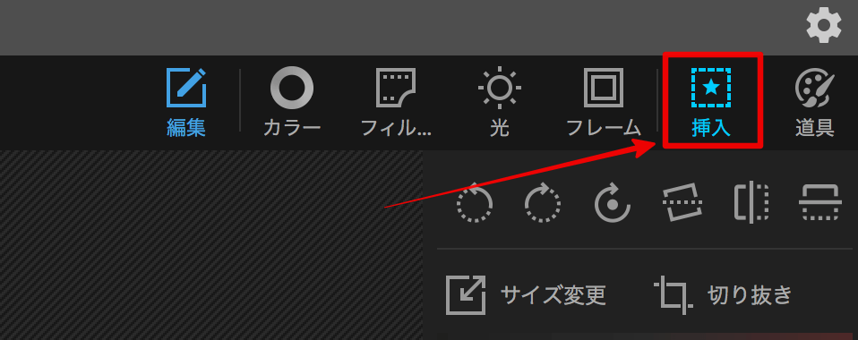 photo scapeで文字を入れるために挿入ボタンを押す